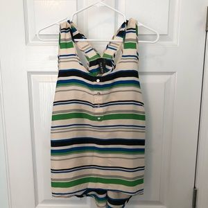 Striped racer back top. Satin. Size L